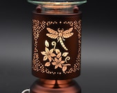Any 2 Home Fragrance Oils with Hand Crafted Dragonfly Cut-Tin Touch Base Electric Oil Warmer