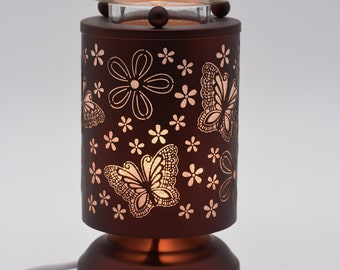 Any 2 Home Fragrance Oils with Hand Crafted Butterfly Flowers Cut-Tin Touch Base Electric Oil Warmers