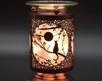 Any 2 Home Fragrance Oils with Hand Crafted Moon Gazing Cat Cut-Tin Touch Base Electric Oil Warmers