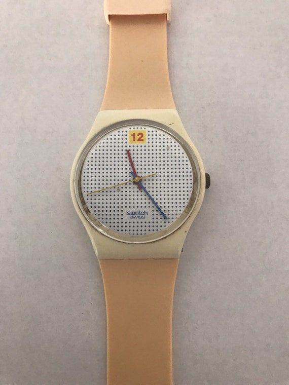 Vintage Swatch Watch 1985 Dotted Swiss GW104 NEW p