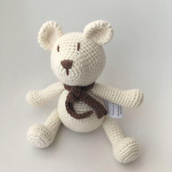 Stofftier Spielzeug gehäkelt ca 22 cm *Handarbeit* Kuscheltier Eisbär Teddy