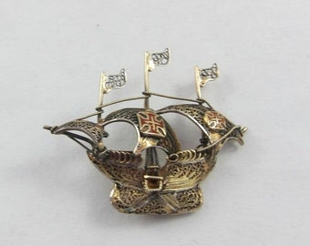 Bp2355 925 Silver Vintage Antique Filigree Designed Sailing Ship Brooch Pin