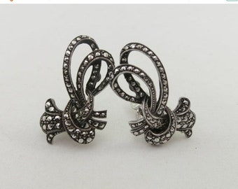 8d4726c71 Summer Sale Fabulous Art Deco Style 835 Sterling Silver Marcasite Stylized  Bow Clip On Earrings
