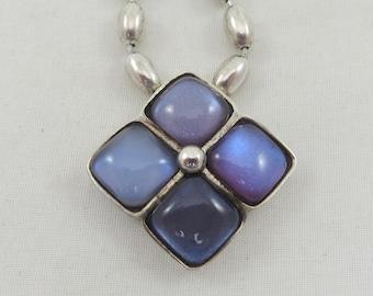 NY Designer 'Steve Vaubel' Sterling Silver Blue Tanzanite Pendant Necklace