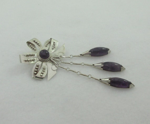 Early Mexico Sterling Silver Bow Amethyst Dangles Brooch