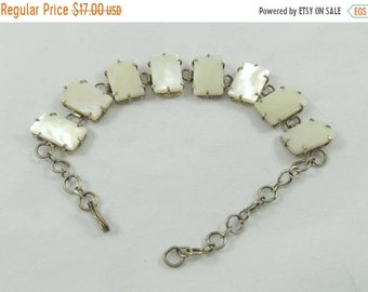 15% OFF Squared white mother of pearl MOP chained bracelet