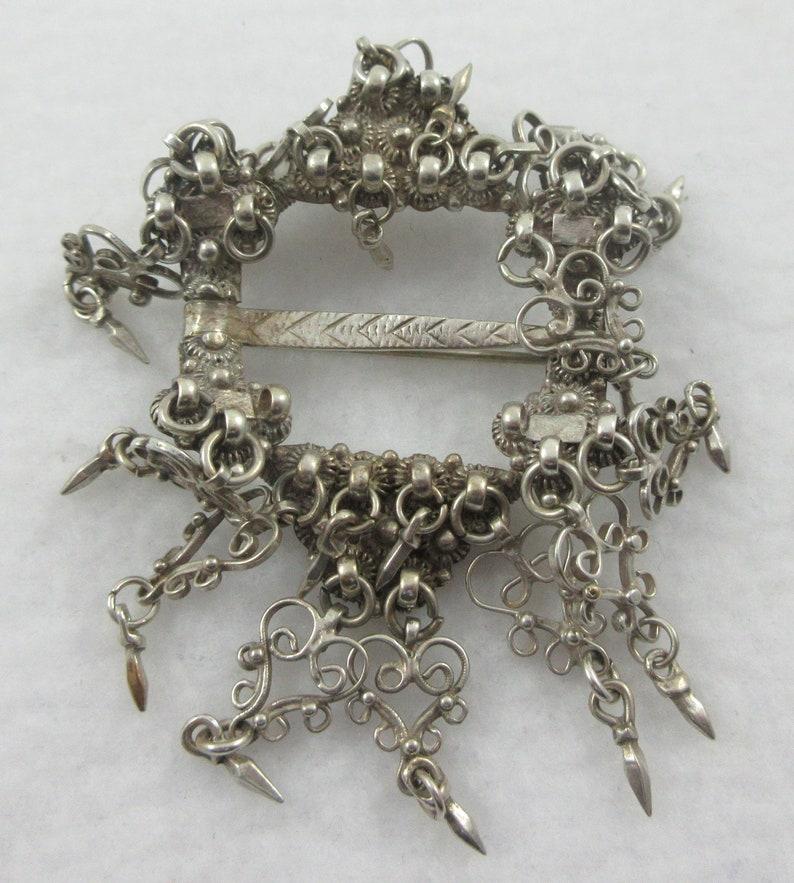 Antique Sterling Silver Norwegian Solje Wedding Dangle Filigree Brooch As it is