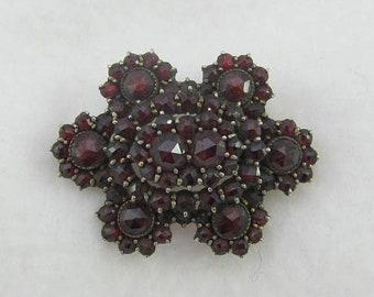 15% OFF Bohemian Garnet Brooch Pin Six Sided Flower Shape with Triple Level Design