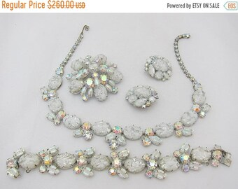 15% OFF Signed Regency White Art Glass Aurora Borealis Full Parure- Brooch Earrings Necklace Bracelet