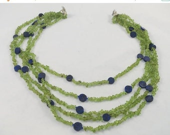 15% OFF Five strands blue green necklace w. peridot chips and lapis lazuli ovals graduated necklace