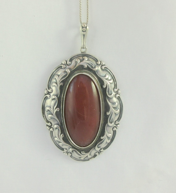 Large 800 Silver Dark Red Agate Art Nouveau Style Pendant w. Sterling Silver Chain