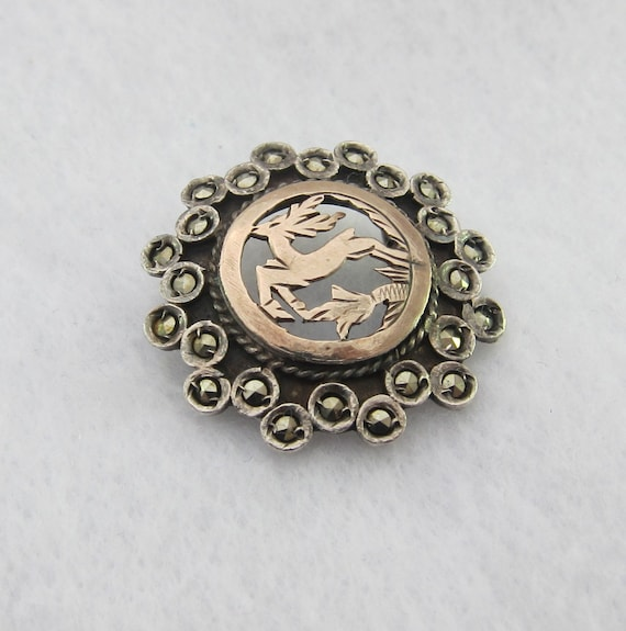 Sale Edwardian 800 Silver and 9K Gold Marcasite Floral Round Brooch