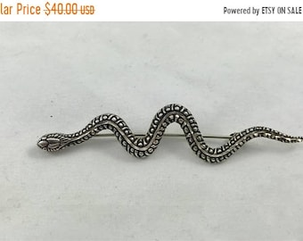 15% OFF Silver Sterling  Stylized Snake Serpent Brooch Pin