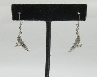 Delicate Sterling Silver Flying Birds Dangles