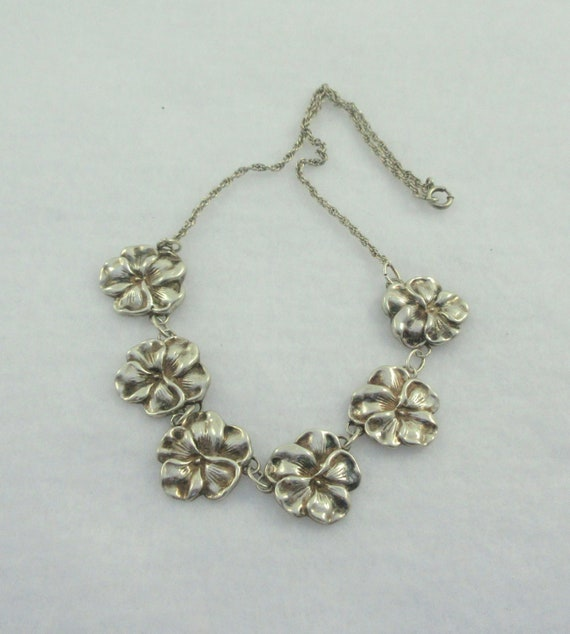 Antique Edwardian Sterling Silver Pansies Pendant