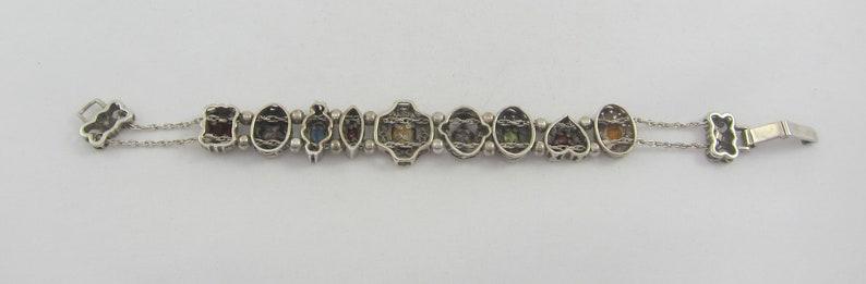Summer SALE Sterling Silver Multi Gem 9 Charms Slide Victorian Revival Style Bracelet