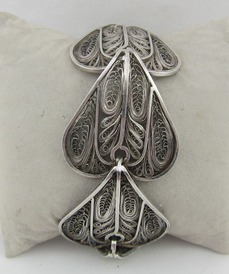 Statement Wide Chunky Sterling Silver Heart Shaped Filigree Bracelet Made in Peru
