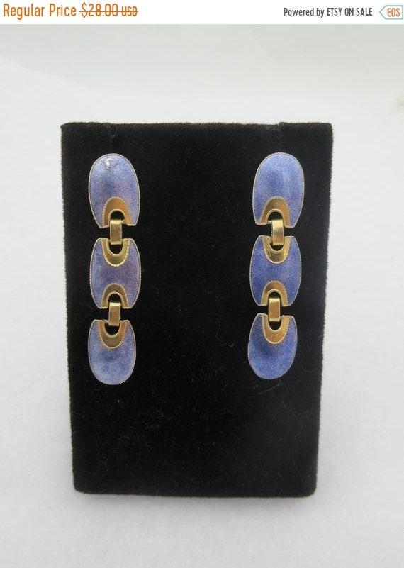 Sale Long Sterling Silver Geometric Blue Lavender Enameled Stud Dangle Earrings- as it is