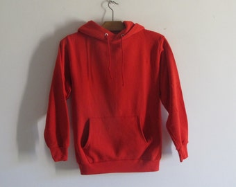 Vintage 80s /90s Jerzees plain hoodie raglan RED sweatshirt small
