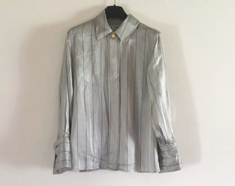 661f69c4b14c91 CELINE Vintage luxury silk grey and black striped blouse • mede in France .  Paris