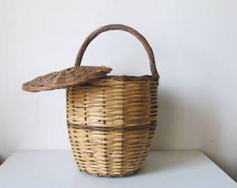 vintage 50s French Handle wicker woven basket with lid  Birkin basket