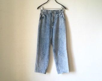 80s Paperbag Elastic High waist Mom Jeans Cropped black Grey Light Acid Wash Stranger things pants Size Medium Elle Eleven Costume