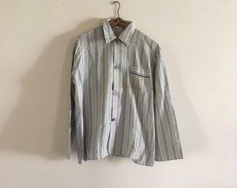 41fbce20364 Vintage nacht shirt gestreepte blauwe katoenen Flanel • mannen pyjama top