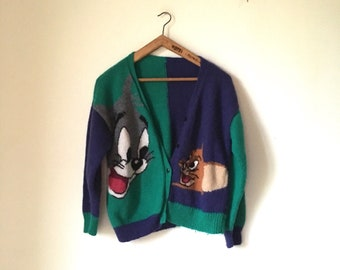 9351062b29cb Vintage Hand knitted Tom   Jerry wool cardigan