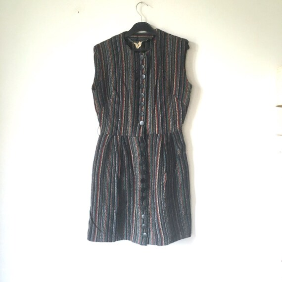 Vintage striped Winter short Dress sleeveless