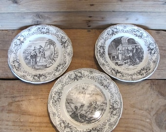 3 Fine Antiques Holly Bible Jesus-Christ Dessert plates from French CHOISY faience manufacture