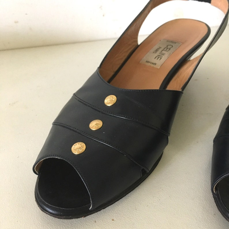 CELINE vintage navy blue leather sling back open toe sandals shoes • vintage Céline • Paris • 37 12 FR