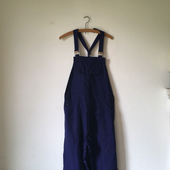 """Vintage French workwear blue overalls """"le perroque"""