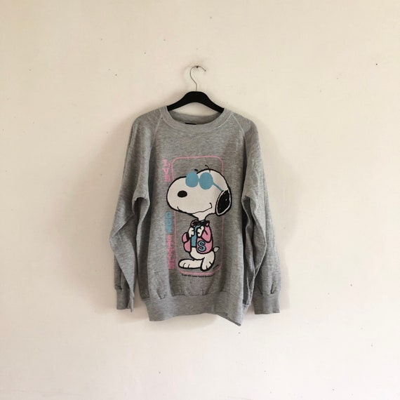 Snoopy Vintage 80s heather grey raglan Sweatshirt