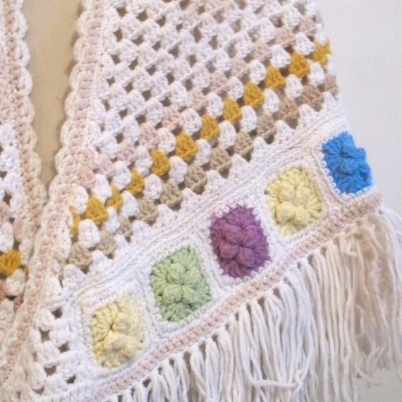 Vintage 70s Boho White crochet wool knit granny r… - image 3