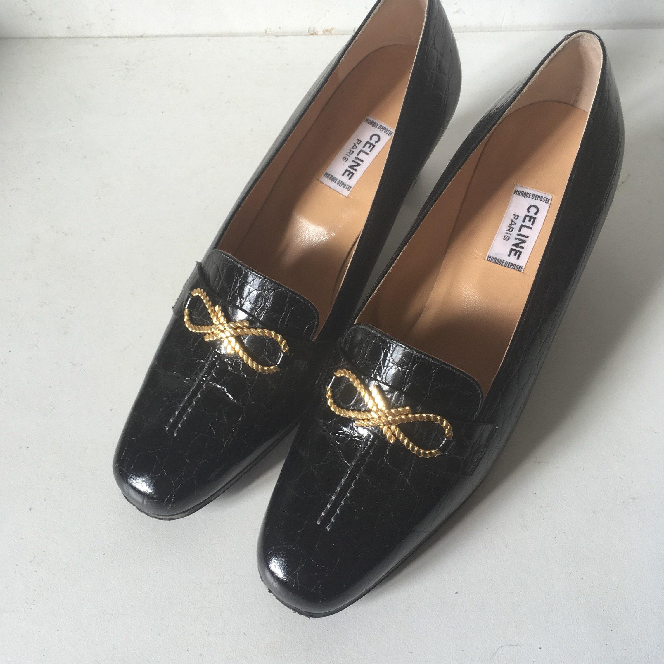 CELINE black • leather and gold link shoes • black vintage never worn 3b867a