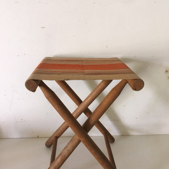 Pleasant Vintage Kid Wood And Stripes Canvas French Small Camp Stool Bralicious Painted Fabric Chair Ideas Braliciousco