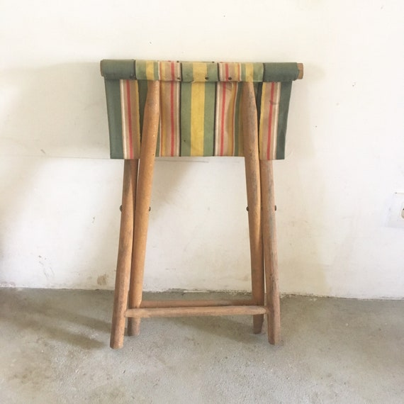 Super Vintage Wood And Stripes Canvas French Camp Stool Bralicious Painted Fabric Chair Ideas Braliciousco