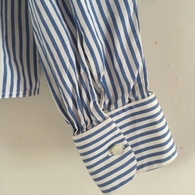 Alain Figaret vintage striped blue and white cotton puff shoulders blouse shirt \u2022 Paris \u2022 Made in France