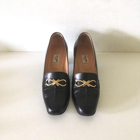 CELINE vintage black leather and gold