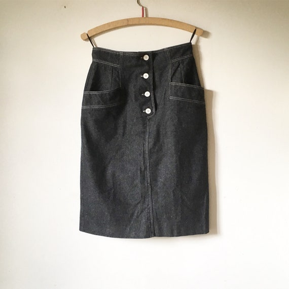 GUY LAROCHE vintage black denim skirt 80s