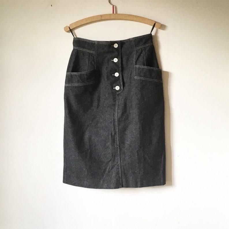 82e9f0b04327 GUY LAROCHE vintage black denim skirt 80s | Etsy