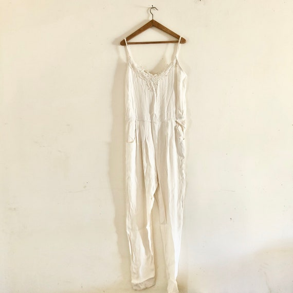Vintage crepe summer off white one piece jumpsuit