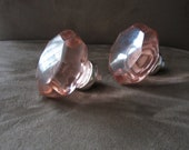 2 x glass drawer pull, matching pair, drawer cabinet knob, rose pink glass, vintage condition
