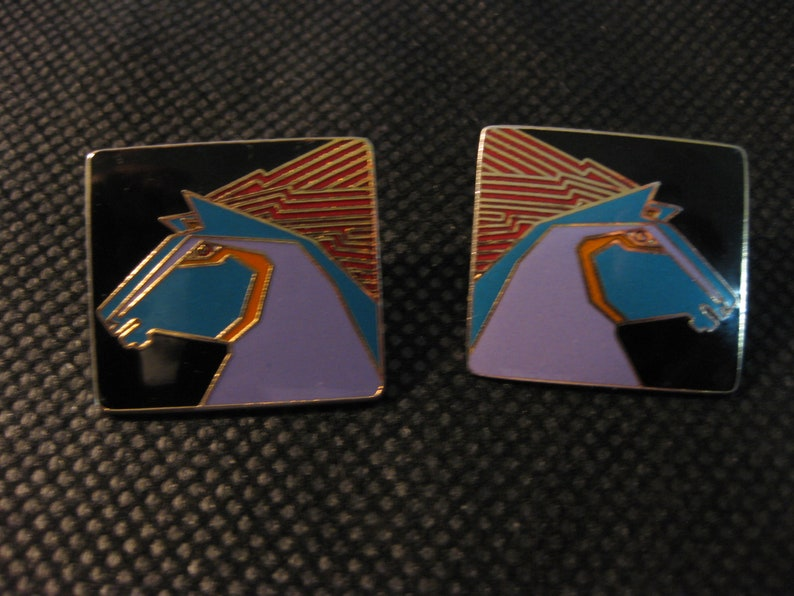 1 inch square Stallion Horse earrings for pierced ears Laurel Burch black with touches of purpletealorangeredgold