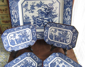 Large ceramic tray, 12 x 11 inches, Asian themed, blue and white, bird floral design,blue white border,4 small plates,8 sided,sandwich plate