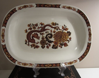 MYOTT MEAKIN, Franciscan, Dragon of Kowloon, large 15 inch, oval platter, brown on cream, vintage condition, mailed from Canada