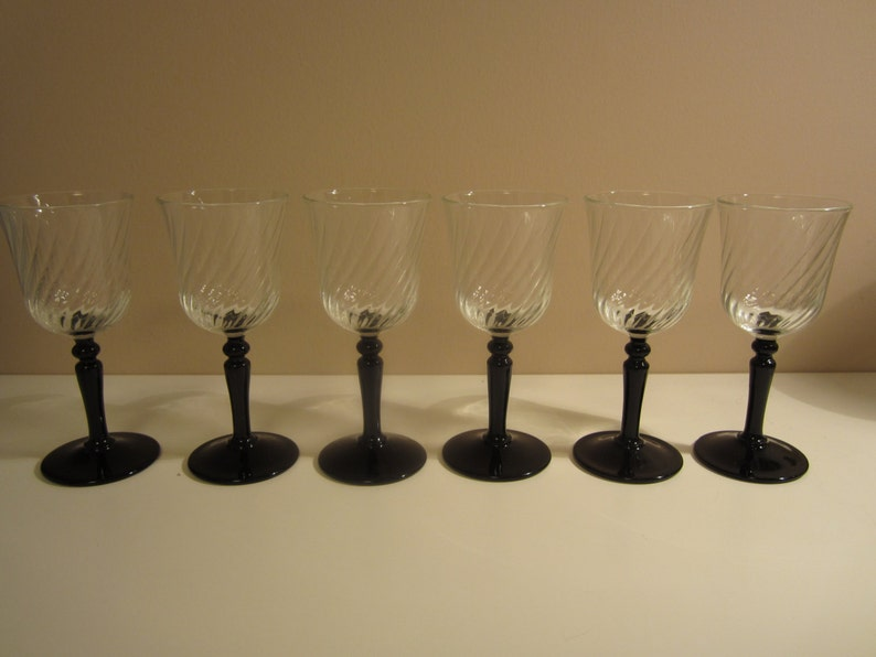 ARCOROC LUMINARC, set of six, sherry cordial, black stem, clear glass bowl,  swirling design, 4 5 inches tall