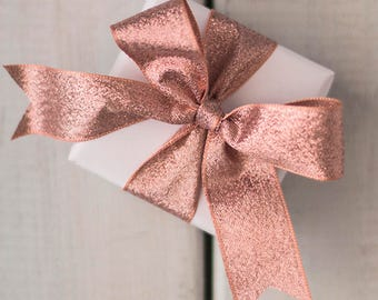 """40 mm/ 1.75"""" ROSE GOLD Sparkle Ribbon x 4 metres   Exact Rose Gold shade suitable for weddings"""