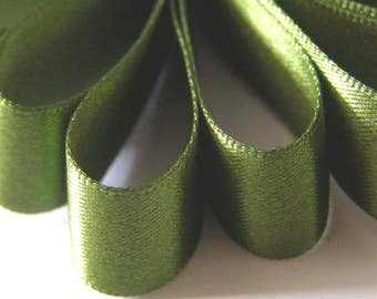 50 mm (2 inch) Wide Double Satin Ribbon  DARK  OLIVE GREEN   x 2 metres