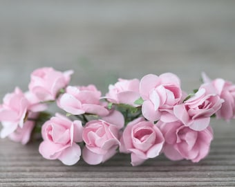 Miniature flowers etsy miniature flowers pink small roses miniature garden flowers craft flowers mulberry paper roses decorative flowers light pink wreath flowers mightylinksfo
